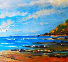 Southern end of Pippi's Beach Yamba NSW Australia by Margaret Morgan (Watkins)