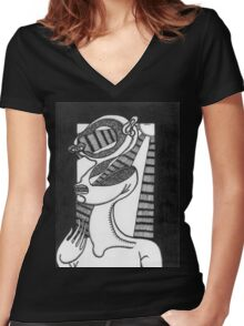 abstract figure Women's Fitted V-Neck T-Shirt