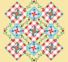 Cottage Chic Gingham Patchwork by PatriciaSheaArt