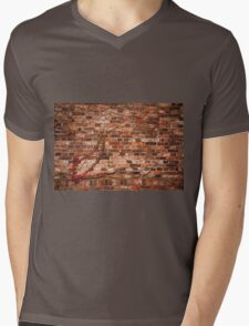 Red ivy hedge climber on wall Mens V-Neck T-Shirt