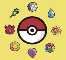 Pokemon Badges, first Generation Kids Tee