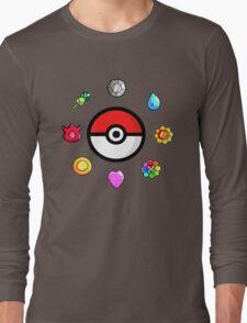 Pokemon Badges, first Generation Long Sleeve T-Shirt