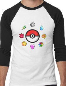 Pokemon Badges, first Generation Men's Baseball ¾ T-Shirt