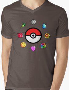 Pokemon Badges, first Generation Mens V-Neck T-Shirt