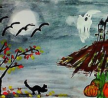 Spooky night, Halloween soon? watercolor by Anna  Lewis
