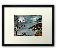 Spooky night, Halloween soon? watercolor Framed Print