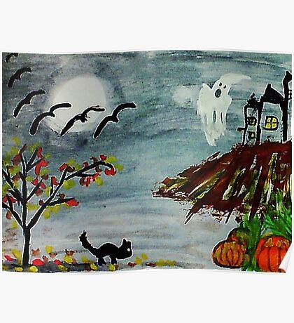 Spooky night, Halloween soon? watercolor Poster