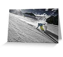 Snowboarding on Alpine slopes Greeting Card
