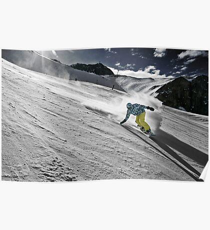 Snowboarding on Alpine slopes Poster