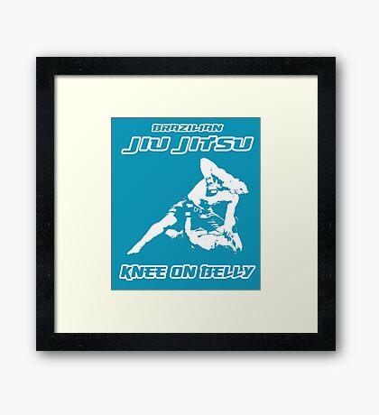 Brazilian Jiu Jitsu Knee On Belly Blue Framed Print