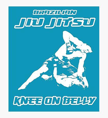 Brazilian Jiu Jitsu Knee On Belly Blue Photographic Print