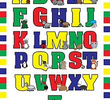Animal Alphabet Poster (Primary Colors) by ValeriesGallery