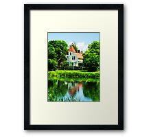 Suburban House with Reflection Framed Print