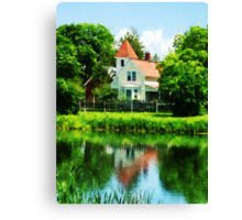 Suburban House with Reflection Canvas Print