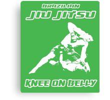 Brazilian Jiu Jitsu Knee On Belly Green  Canvas Print