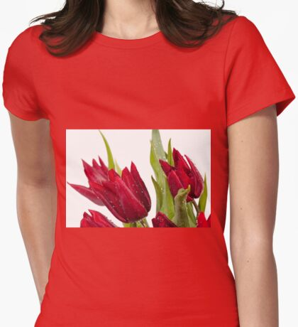 Red tulip heads sprinkled Womens Fitted T-Shirt