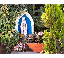 Virgin Mary With Potted Flowers Photographic Print