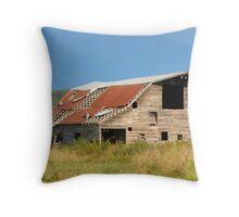 Old Barn Blue Sky Throw Pillow