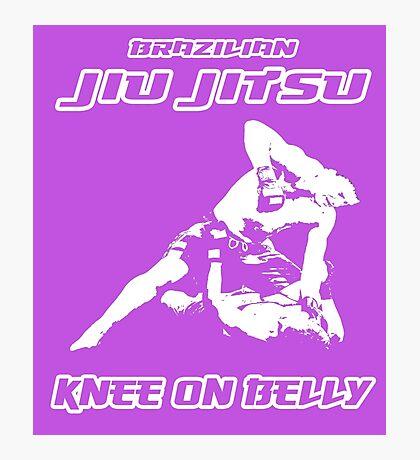 Brazilian Jiu Jitsu Knee On Belly Purple  Photographic Print