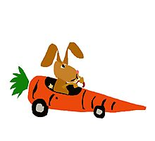 Hilarious Bunny Rabbit Driving Carrot Car Photographic Print