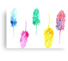 Rainbow Watercolor Feathers Canvas Print