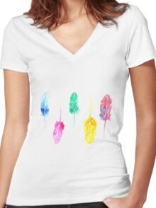 Rainbow Watercolor Feathers Women's Fitted V-Neck T-Shirt