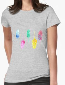 Rainbow Watercolor Feathers Womens T-Shirt