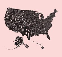 USA States Black One Piece - Short Sleeve