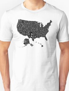 USA States Black T-Shirt