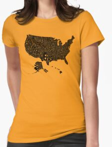 USA States Black Womens Fitted T-Shirt