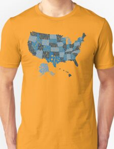 USA States Blue Unisex T-Shirt