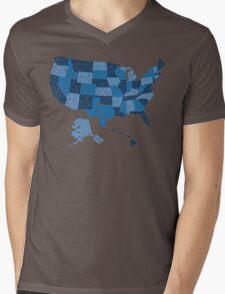 USA States Blue Mens V-Neck T-Shirt