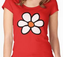 Hippie flower cartoon Women's Fitted Scoop T-Shirt
