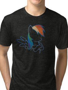 RainbowDash: Not amused Outline Tri-blend T-Shirt