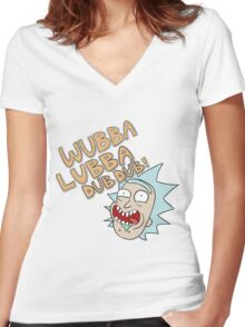 Rick and Morty- Wubba Lubba Dub Dub! Women's Fitted V-Neck T-Shirt