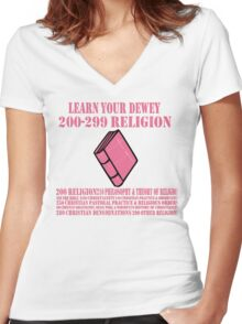 Learn your Dewey 200 Women's Fitted V-Neck T-Shirt