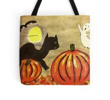 Kitty and Pumpkin battle it off, watercolor Tote Bag