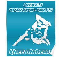 Mixed Martial Arts Knee On Belly Blue  Poster