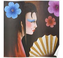 geisha with flowers 3 Poster