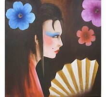 geisha with flowers 3 Photographic Print