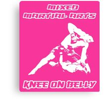 Mixed Martial Arts Knee On Belly Pink Canvas Print