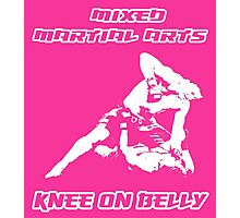 Mixed Martial Arts Knee On Belly Pink Photographic Print
