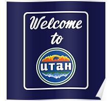 Welcome to Utah Road Sign Vintage 90s Poster