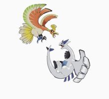 Ho-oh and Lugia - Pokemon Gold and Silver by Rhyssiiee