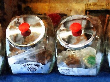 Two Glass Cookie Jars by Susan Savad