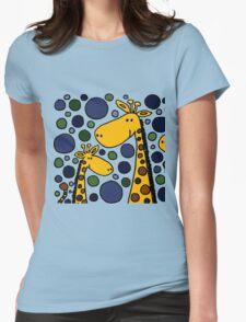 Funky Yellow Giraffes Abstract Art Original Womens Fitted T-Shirt