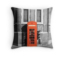 LONDON CALLING RED TELEPHONE BOOTH Throw Pillow