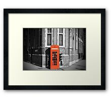 LONDON CALLING RED TELEPHONE BOOTH Framed Print