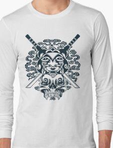 Samurai Mask and Skull Long Sleeve T-Shirt