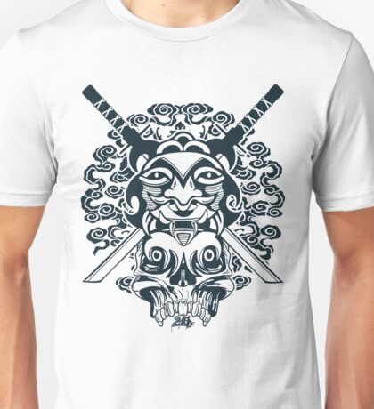 Samurai Mask and Skull Unisex T-Shirt